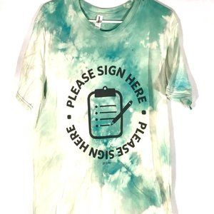 Please Sign Here Large Cotton Tee Handmade Green